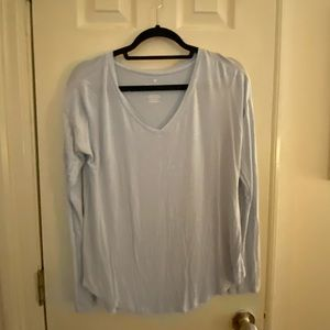 light blue long sleeve v neck